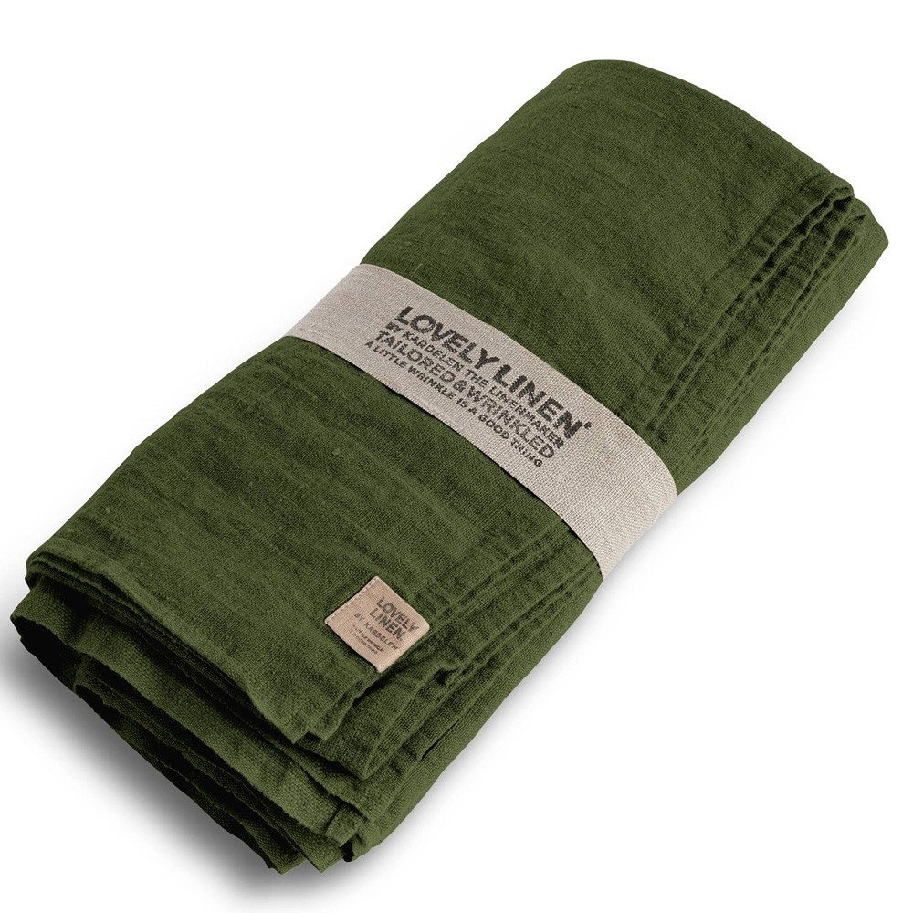 Lovely Linen Washed Linen Tablecloth Jeep Green
