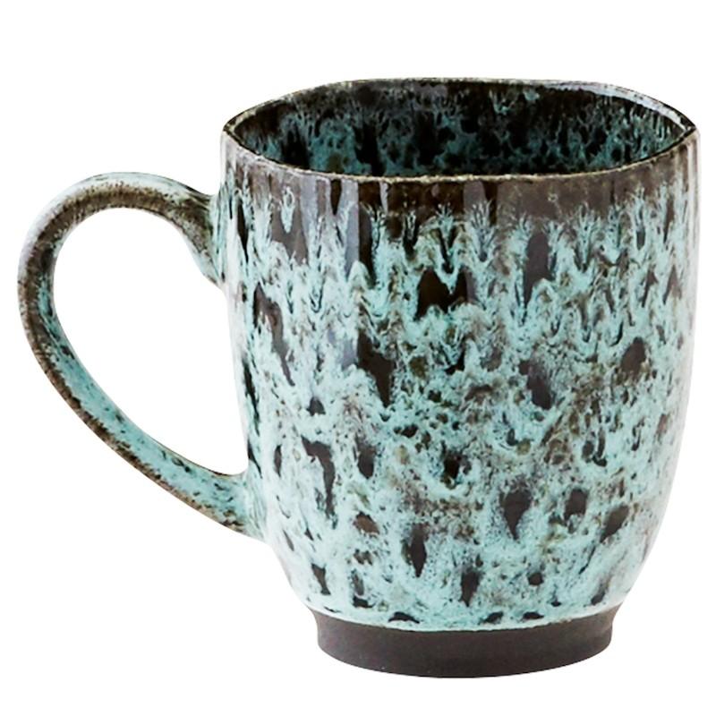 Madam Stoltz Stoneware Mug Light Petrol & Black