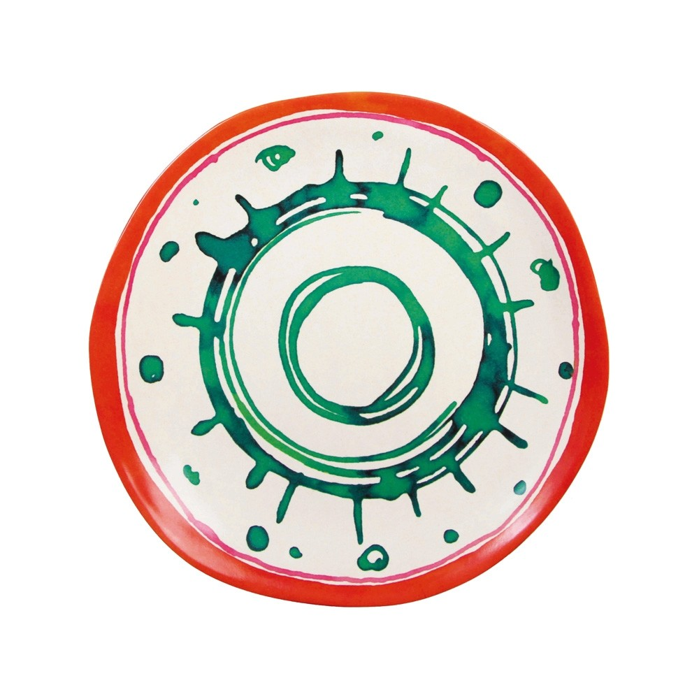Klevering Anouk Abstract Bamboo Plate Red Green Circles