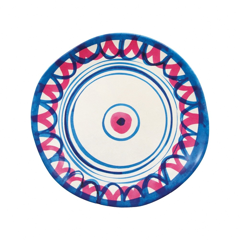 Klevering Anouk Abstract Bamboo Plate Navy Pink Spiral