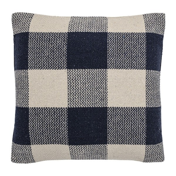 Bloomingville Blue Check Recycled Cotton Cushion