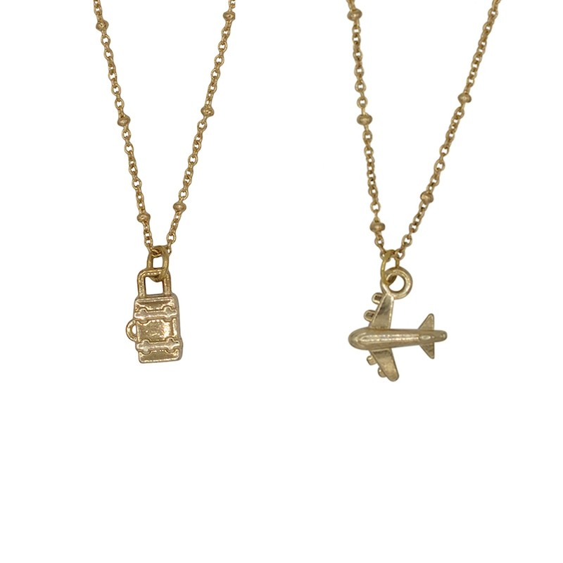 A La Friendship Necklaces Plane & Suitcase