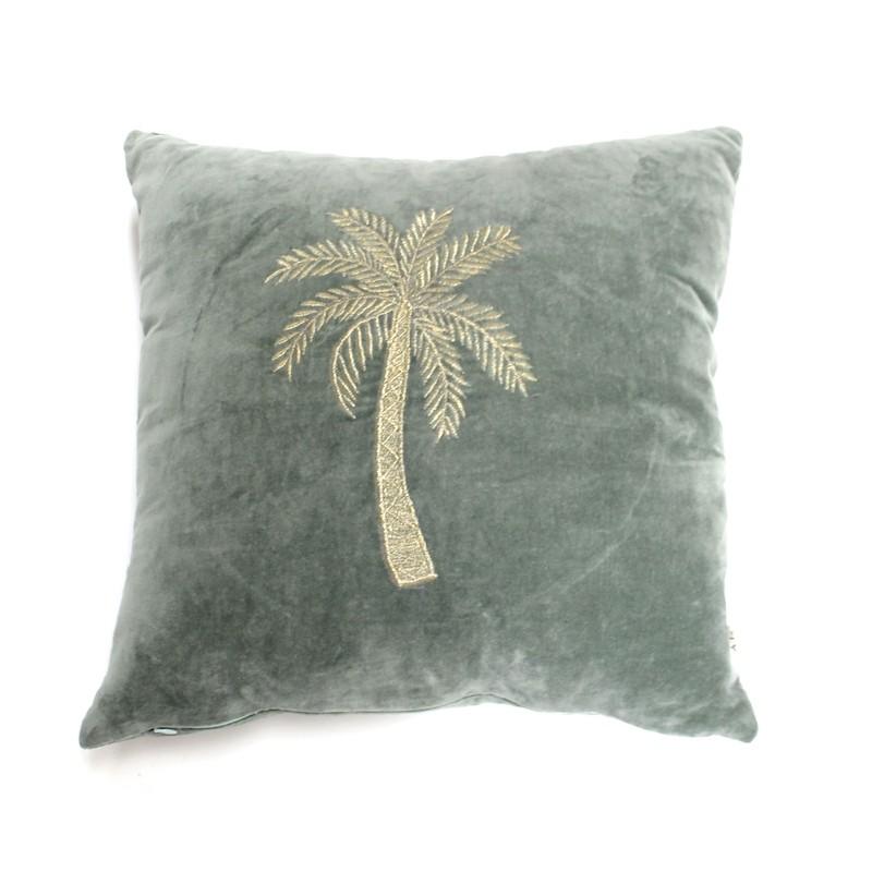 A La Velvet Palm Tree Cushion Green