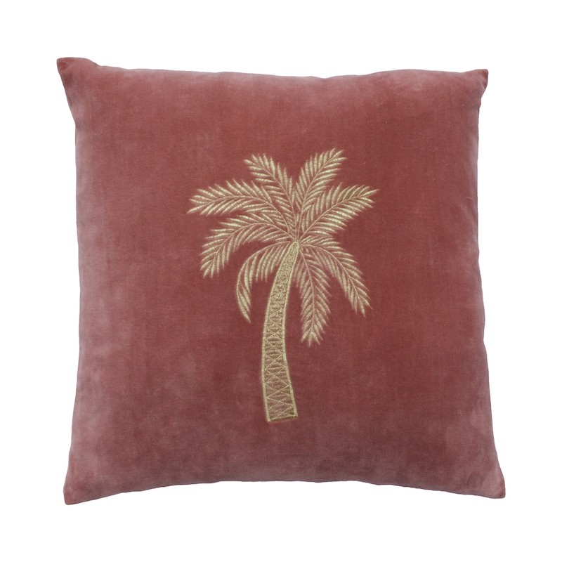 A La Velvet Palm Tree Cushion Pink