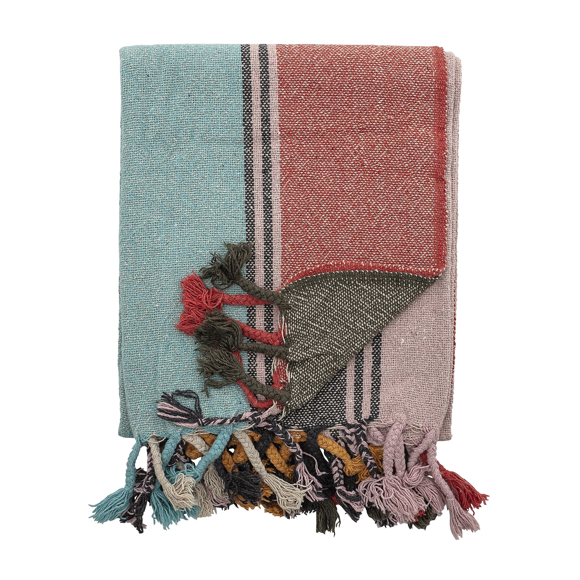 Bloomingville Bright Multi-Coloured Recycled Cotton Throw