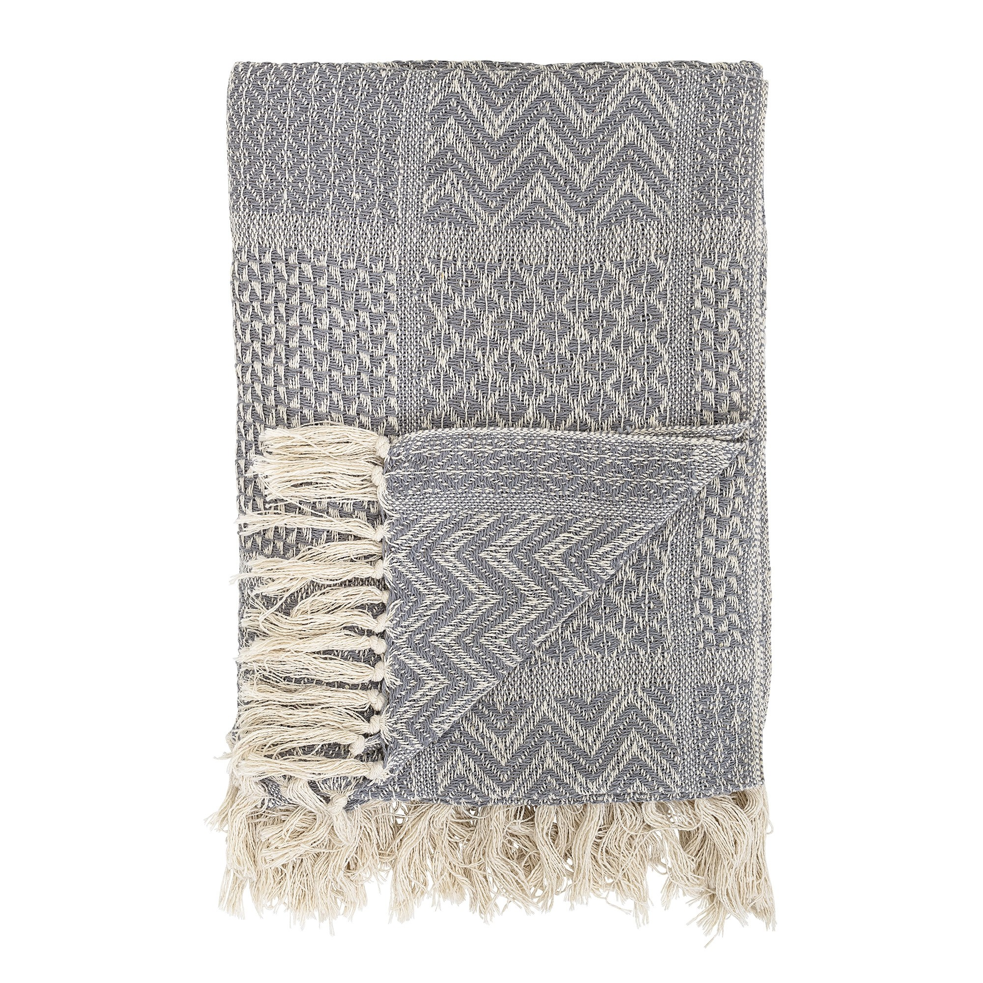 Bloomingville Grey Recycled Cotton Throw