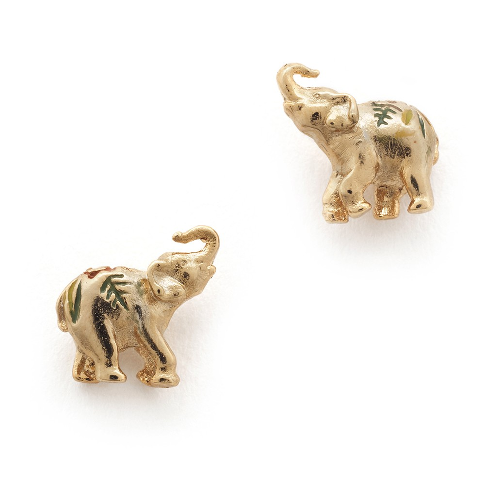 studs haz gold cz elephant e earrings