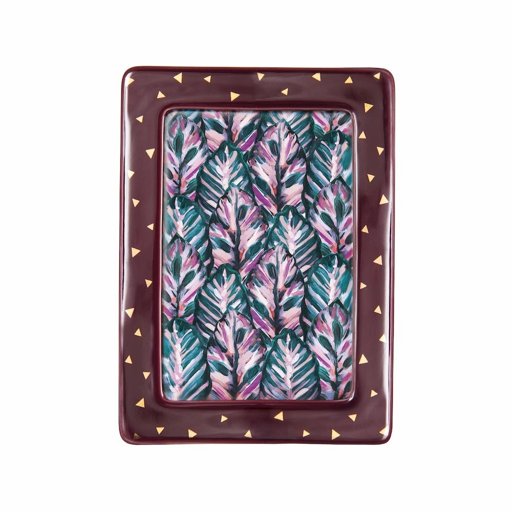 Klevering Burgundy Photo Frame with Gold Triangles
