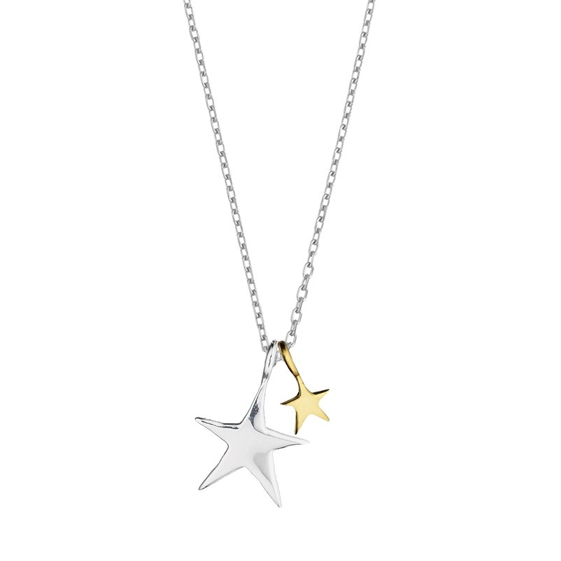 Estella Bartlett Two Tone Double Star Necklace