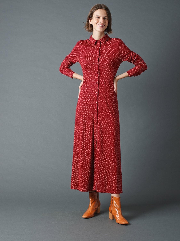 Tricot Midi Dress with Polka Dots