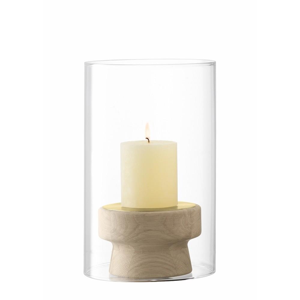 LSA Mistral Oak Candleholder & Glass Shade 25.5cm