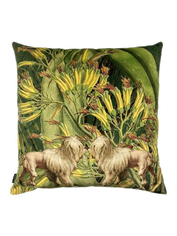 Vanilla Fly Velvet Cushion Lion Dogs
