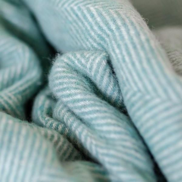 Tartan Blanket Co Recycled Wool Blanket in Pistachio Green Herringbone