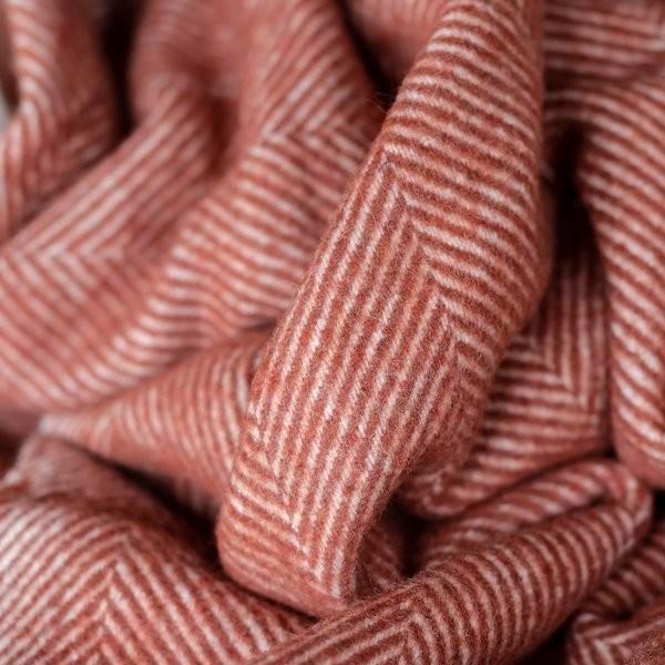 Tartan Blanket Co Recycled Wool Blanket in Rust Herringbone