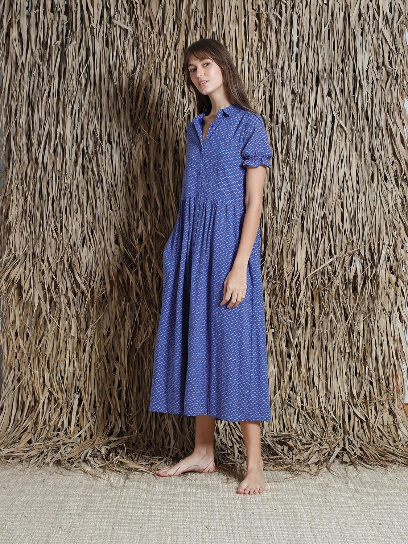 Cobalt Printed Cotton Voile Dress