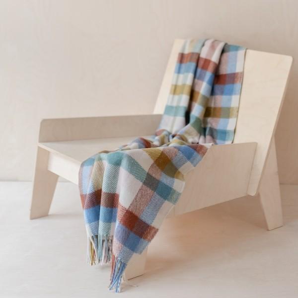 Tartan Blanket Co Recycled Wool Blanket Rainbow Check