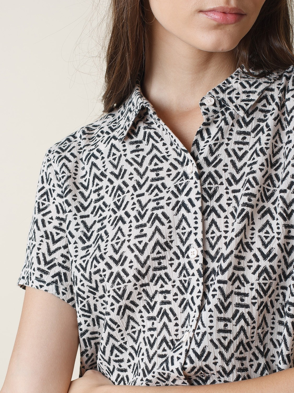 Fluid Shirt with Ethnic Print