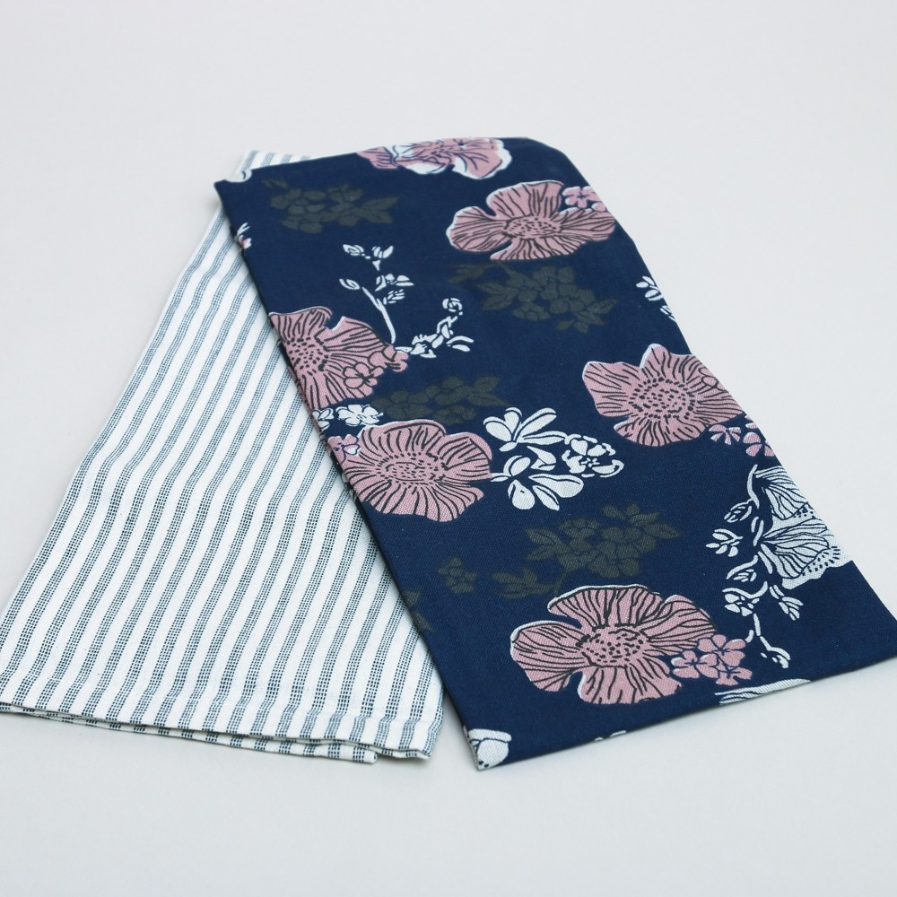 Raine & Humble Indigo Rose Tea Towel 2 Pack
