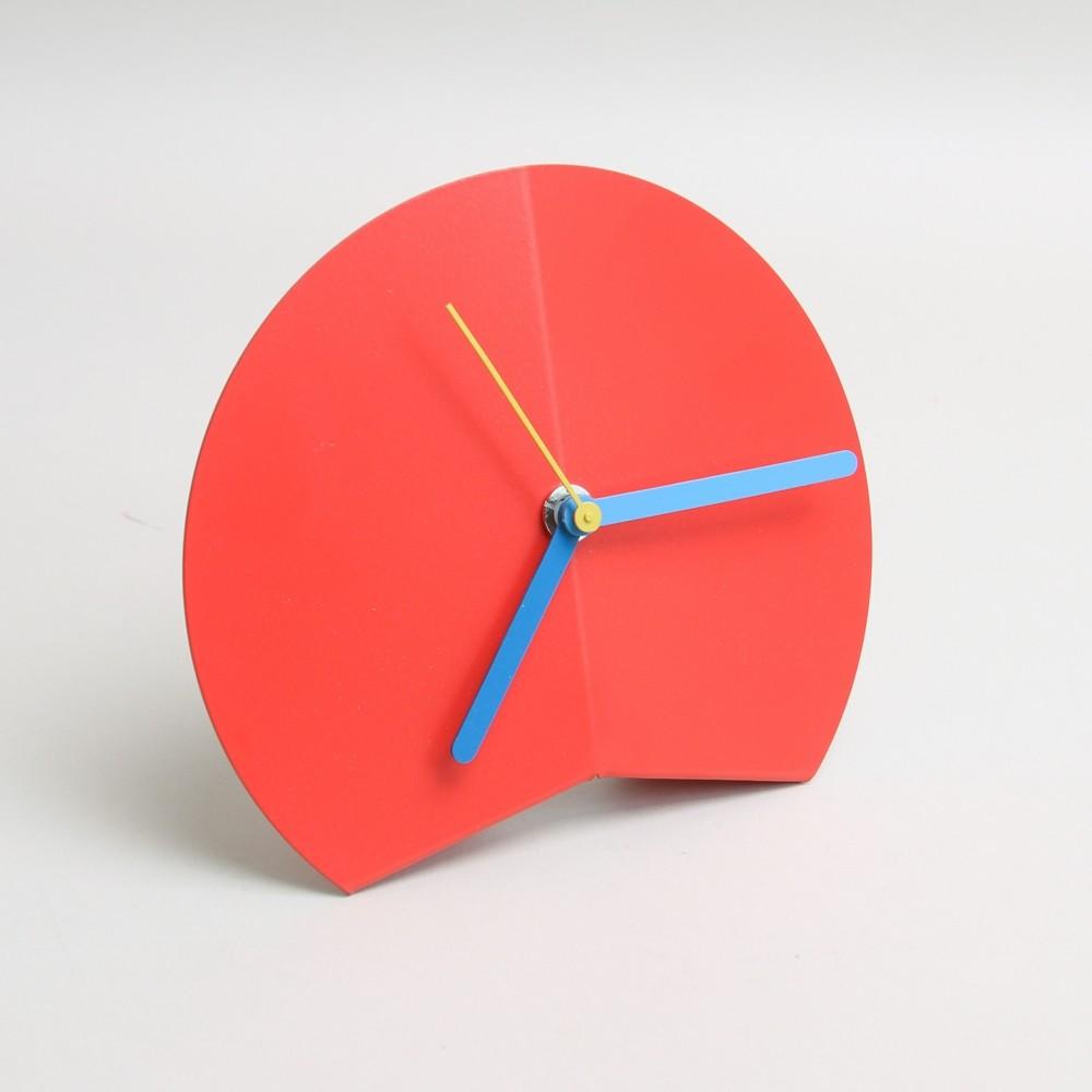 Block Design Origami Fold Desk Clock Red