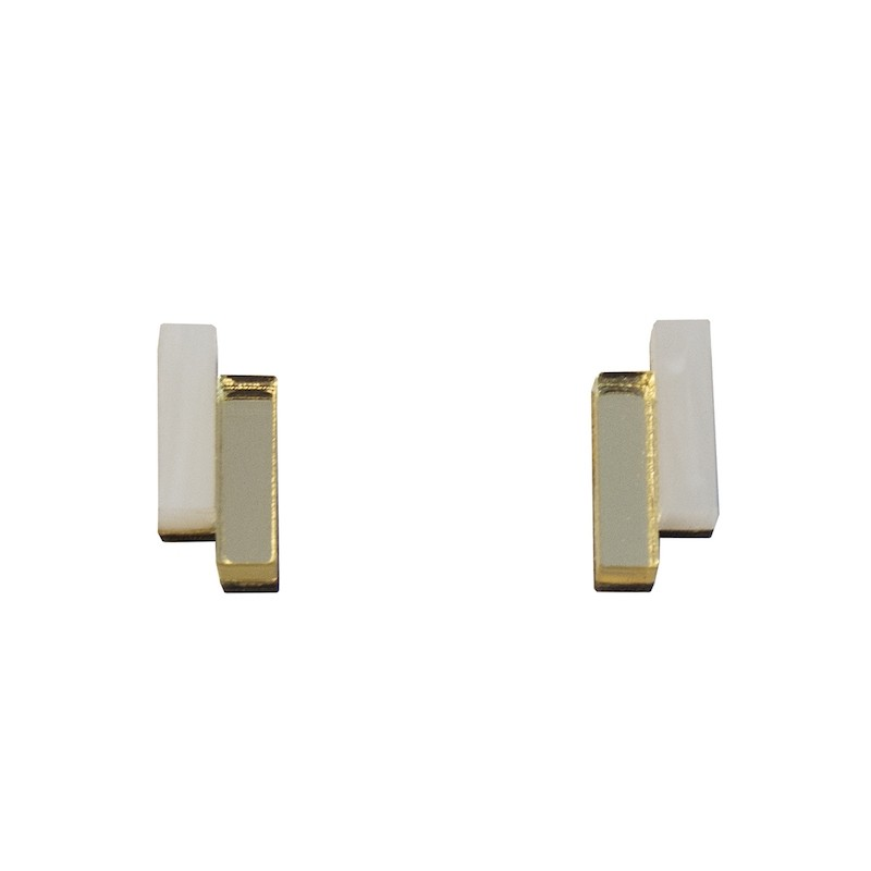 Wolf & Moon Shift Studs Marble & Gold
