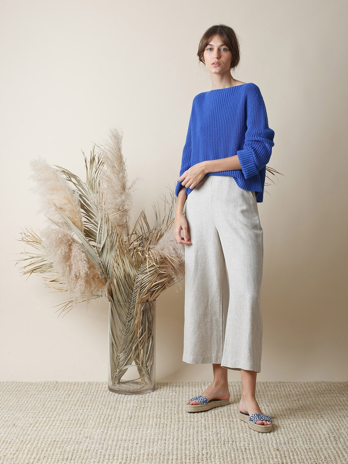 Boat Necked Ribbed Sweater Cobalt Blue